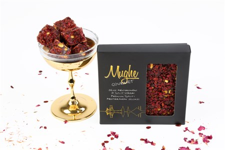 Luxury Barberry Coated Turkish Delight, Pomegranate Flavor with Pistachio - Zereshk Berries