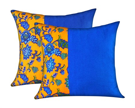 MUGHE Decorative Ottoman Throw Pillowcase Turkish Authentic Design Soft 100% Cotton Pillow Covers Set of Two Blue & Orange Pillow Case (18x18 inch, Blue & Orange)
