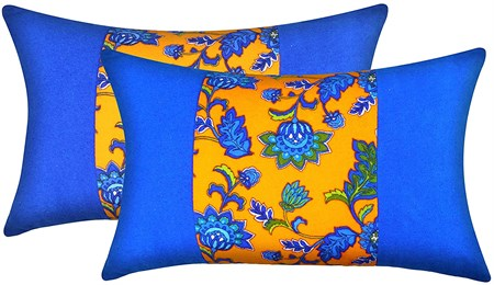 MUGHE Decorative Ottoman Throw Pillowcase Turkish Authentic Design Soft 100% Cotton Pillow Covers Set of Two Blue & Orange Pillow Case (12x20 inch, Blue & Orange)