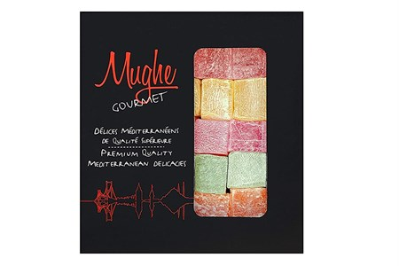 Turkish Delight Assortment Luxurious Selection of Rose, Strawberry, Lemon, Orange and Mint Flavour, Mughe Gourmet Lokum Dessert Mix Delights, Approx 20 pieces, 200g ℮ Gift Box (No Nuts)